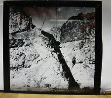 1890s CURIOUS RAILWAY IMAGE - PIPE LINE Down MOUNTAIN Glass Lantern Photo Slide