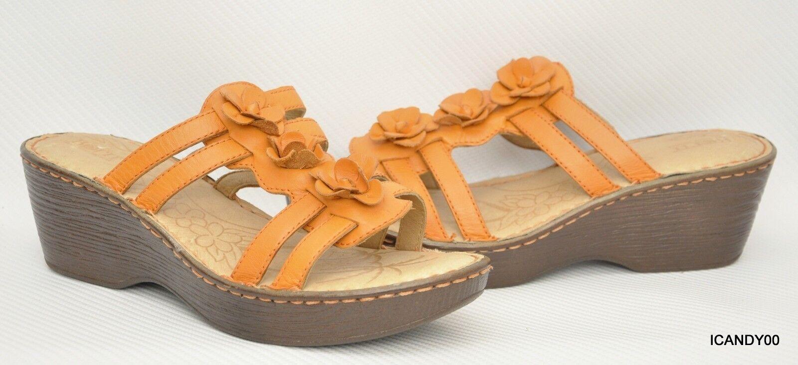 Recién nacido de Cuero Sandalia De Cuña Con Tiras Plataforma Floral Naranja B98308   10 42