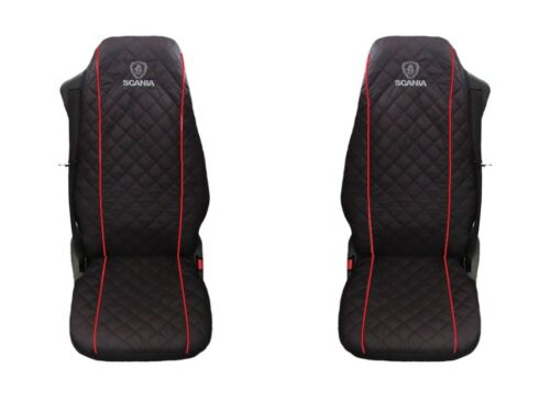 RED PIPING 1+1 SCANIA Truck Seat Covers 2 piece