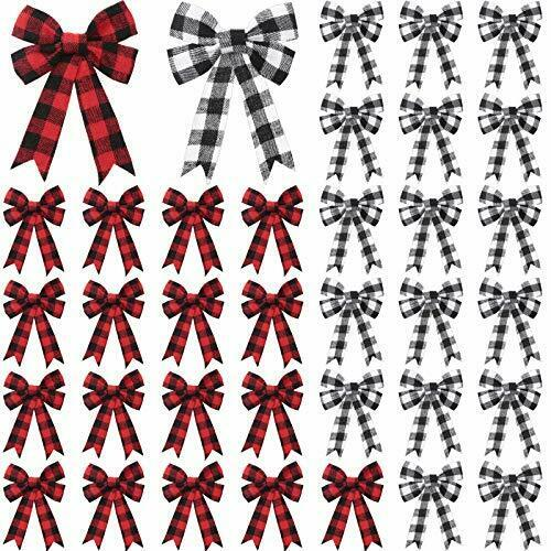 48 Pièces Buffalo Plaid Arcs guirlande de Noël Noeud Rouge Noir Blanc Plaid Arcs