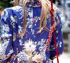 ZARA WOMAN BLAZER PRINT FLORAL BLUE COAT JACKET ORIENTAL FLOWER SILKY SMALL - S