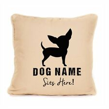 Personalised Chihuahua Throw Pillow Cushion Sits Here Dog Pet Lover Gift Present