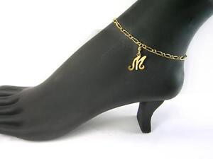 ef96040604d M - Your Initial M Anklet   Real 1 20 -14k Gold Filled   Letter M ...