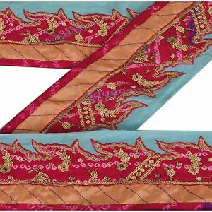 Sanskriti Vintage Sari Border Indian Craft Bandhani Trim Hand Beaded Sewing Lace Sewing Lace, Crochet & Doilies