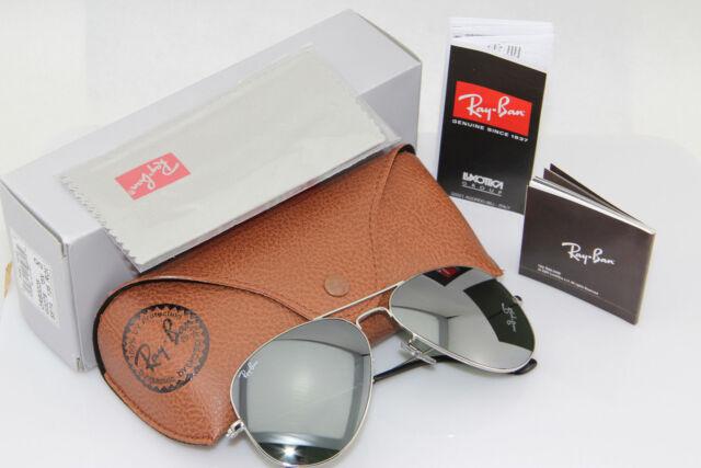 ray ban aviator 3025 - montatura argento lente a specchio -  taglia media 58
