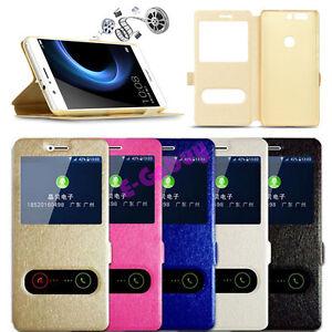 Clapet-Soie-Cuir-Etui-Stand-Vue-Fenetre-Telephone-pour-Huawei-Honor-9-6A-8