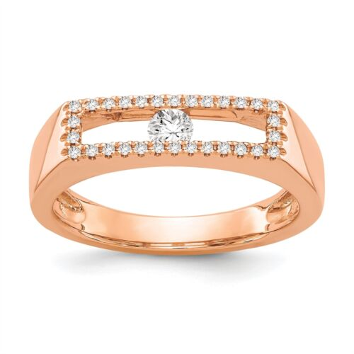 14K Rose Gold Polished Diamond Ring, Size 7 0.21 CTW MSRP $1999