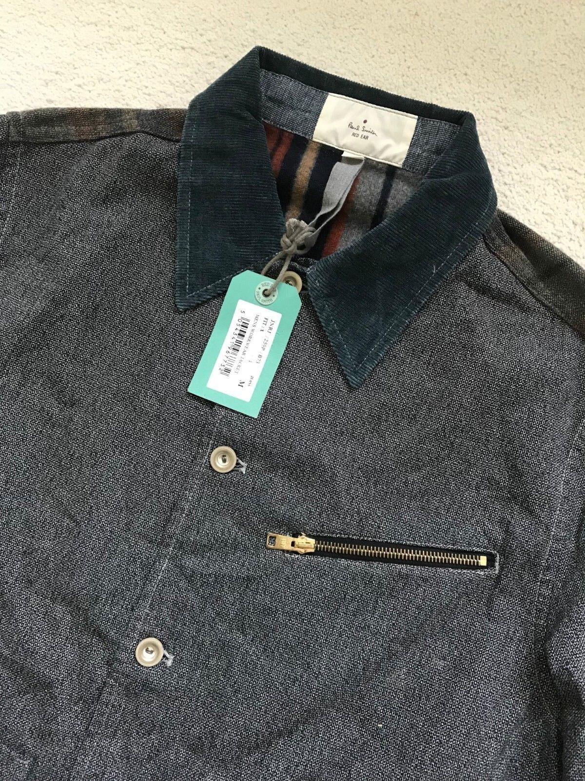Paul Smith Rosso Orecchio Grigio pulsante di allacciare Workwear Giacca Giacca Workwear - 15a19a