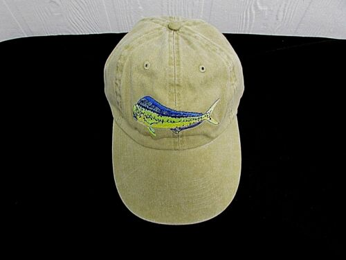 DOLPHIN Baseball Cap Embroidered Fish MAHI Adjustable Size TAN Fishing Hat AE3