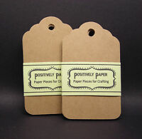 Blank Handmade Scallop Gift Hang Tags - Kraft - Brown Cardstock Wedding Birthday