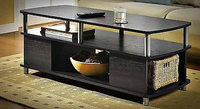 CONTEMPORARY COFFEE TABLE STORAGE MODERN BLACK END TABLES LIVING ROOM FURNITURE