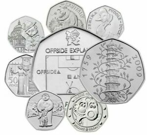 UK-50p-Brillant-uncirculat-ed-Anglais-virgule-Cinquante-Pence-Pieces-Choix-de-Date