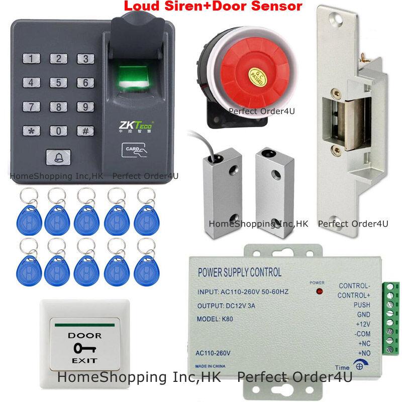 Puerta de tarjeta de EE. UU. huella Dactilar + RFID Control De Acceso + Sensor De Puerta huelga eléctrica + + Sirena