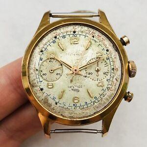 Seltene-Delta-Watch-Chronograph-Landeron-Vintage-Maenner-Vergoldet-Armband-Schweizer-Reparatur