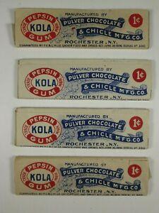 (4) PULVER Kola Pepsin Chewing Gum Sticks, Rochester NY. 1906 Spearmint WG Cin P