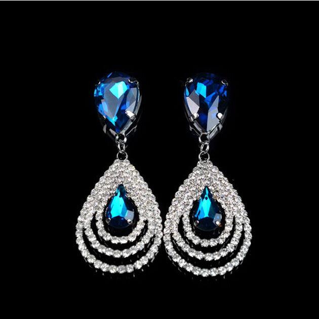 Womens Sparkling Crystal Teardrop Dangle Drop Studs Rhinestone Hoop Hot Earrings