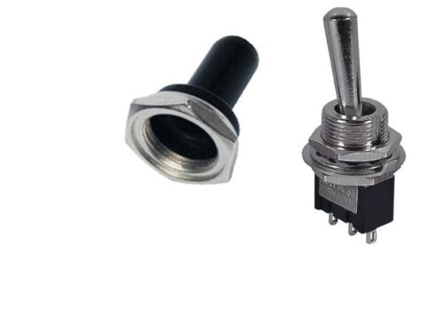ON-OFF-ON SPDT 3P MINI TOGGLE SWITCH 6AMP-125V RUBBER SOFT COVER 66-1232//66-5002