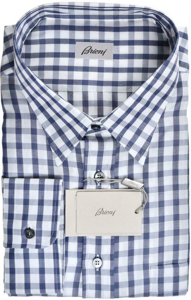 Brioni Dress Shirt Cotton Größe 20 US Blau Check 03SH0589  525
