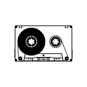 Musik Kassette 10cm Schwarz Aufkleber Tattoo Dekofolie Mc