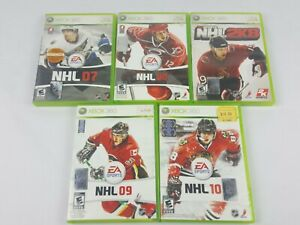 NHL 07 - NHL 10 Lot of 5 Xbox 360 Games EA Sports Pre Owned Rated E Hockey XG100