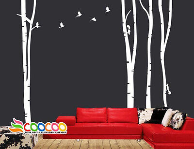 Wall Decor Decal Sticker large birch tree trunk forest 4 trees