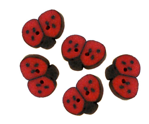 FREE SHIPPING Tiny Ladybug Polymer Clay Button Pack of 5-3//8 inch x 1//4 inch