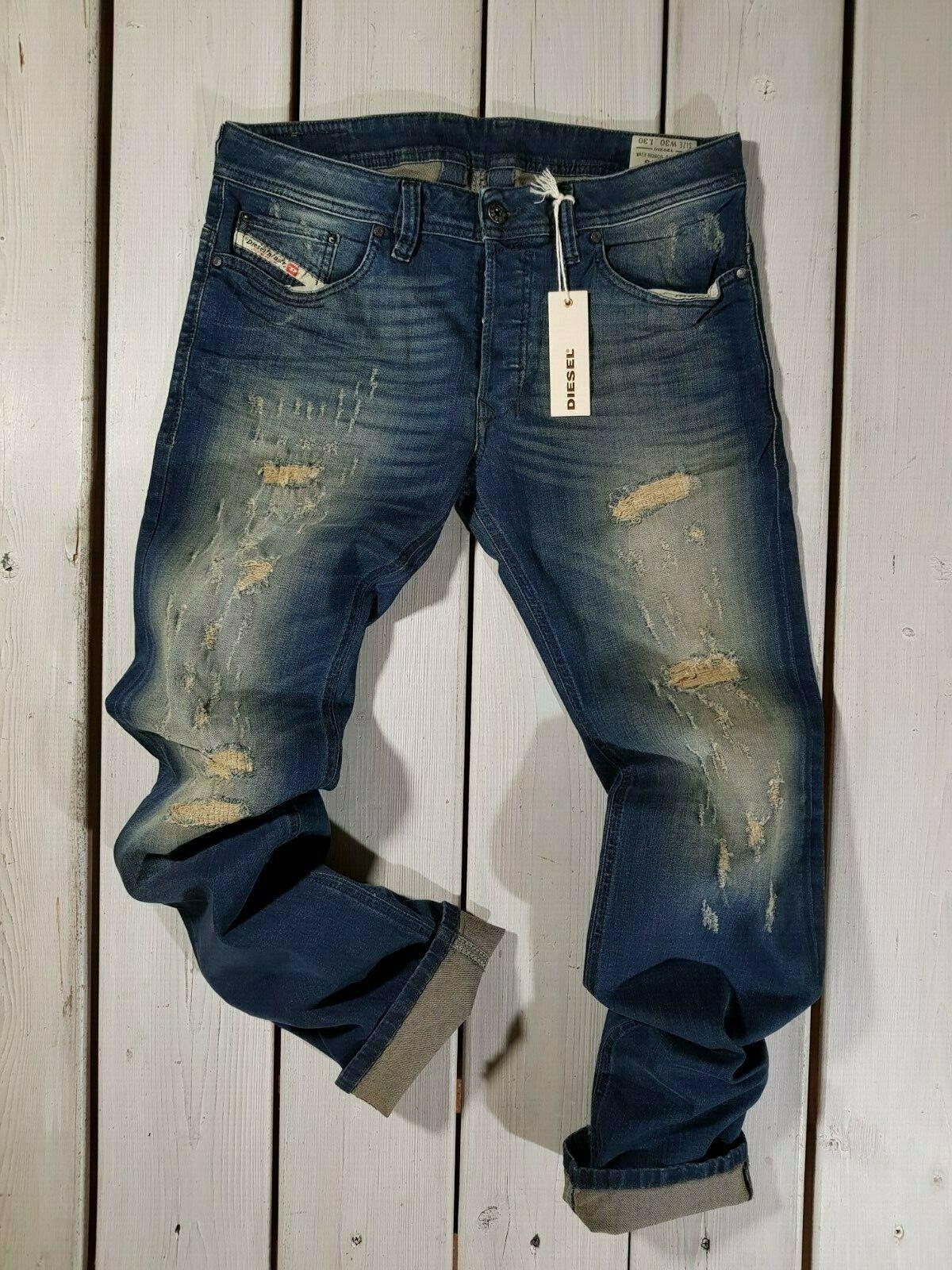 RRP  NEW DIESEL MEN'S JEANS SAFADO R08C6 REGULAR SLIM STRAIGHT STRETCH blueE