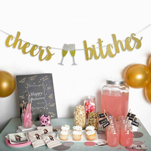 Glitter Cheer Bitches Bunting Banner Hanging Garland Hen Party Decoration