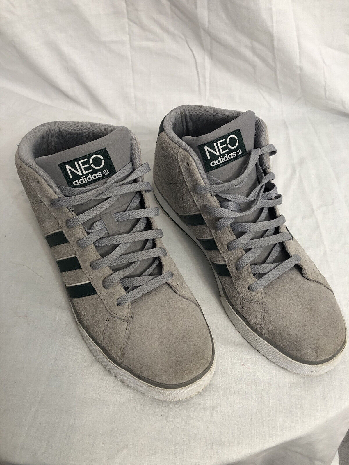 Adidas High Top Neo Label Ortholite Gray & Green Sued… - Gem
