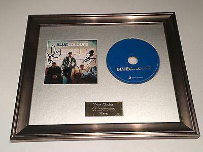COLOURS FRAMED CD PRESENTATION.DUNCAN JAMES,LEE RYAN SIGNED//AUTOGRAPHED BLUE