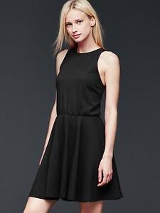 72bc22dc772 NEW GAP Womens Knit Fit   Flare Dress Zip Sleeveless Black Gray XS 2 ...