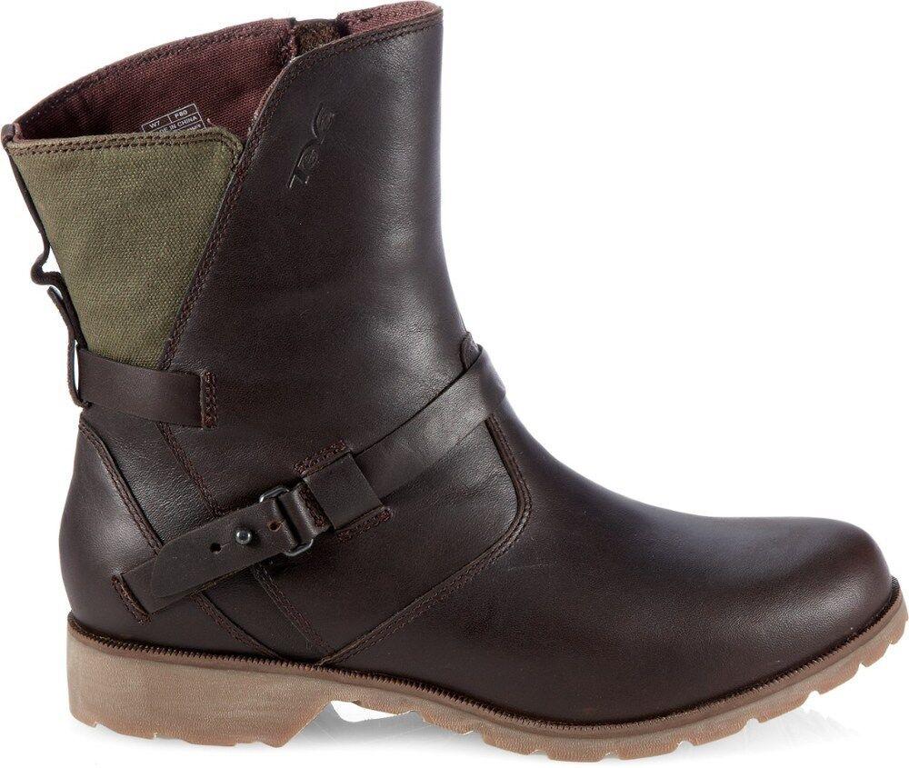 Teva DeLaVina Low Waterproof damen Leather Ankle Stiefel, US 6, braun Grün