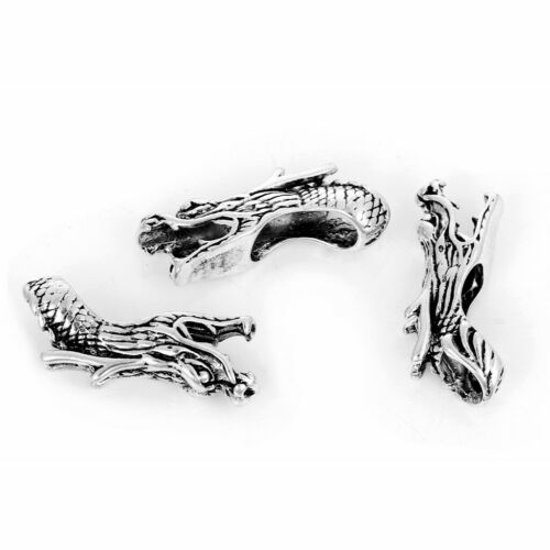 5 Or 10PCs Asian Dragon Beads 38mm Antiqued Silver Plated Spacers C7331-2