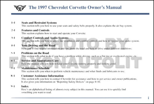 NEW Original 1997 Corvette Owners Manual OEM Chevy Chevrolet Owner Guide Book