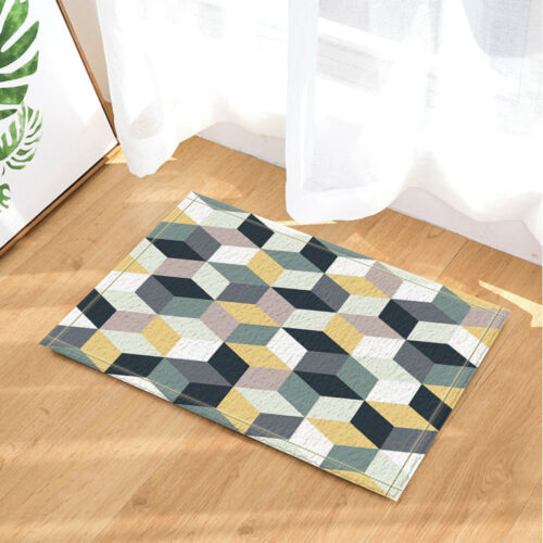 3D Geometry Of Colorful Cubes Gray Yellow Bath Fabric Shower Curtain 71x71 Inch