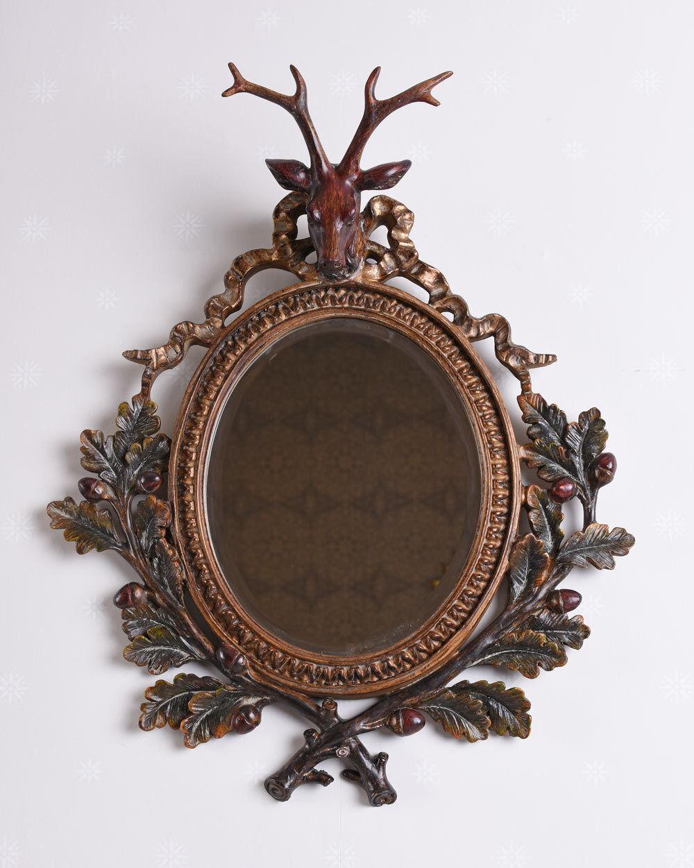 Miroir mural ancien Cabines style Déco De Cheminée cerf tête