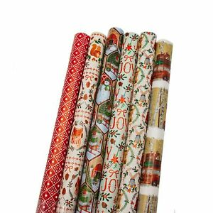 Bundle-of-6-Rolls-of-40-Contemporary-Traditional-Christmas-Holiday-Gift-wrap
