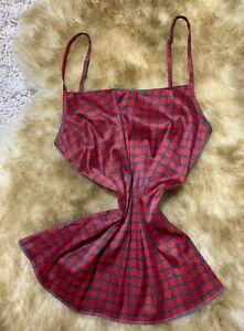 TEZENIS-RED-GRAY-Camisole-Top-sleepwear-nightwear-size-S