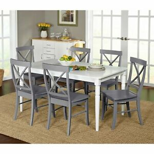 Details About 7 Piece Farmhouse Dining Kitchen Set Table 6 X Backed Chairs White And Gray