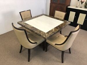 Details About Square Monaco Marble Dining Table 100cm 4 Chairs Grand Designs Great Prices