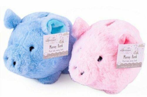 New Baby Fluffy Money Box Bank Plush Piggy Bank Toy Keepsake Gift Pink Blue 23cm
