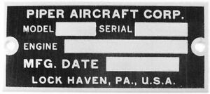Piper Data Plate, J-3 Cub, L-4, PA-18, Vintage General Aviation  DPL-0104