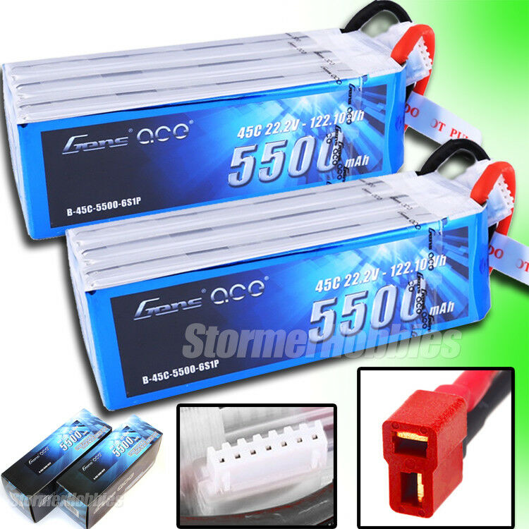 (2) Gens Ace 6S 5500mAh 22.2V 45C 6S1P Lipo Battery with Deans Plug