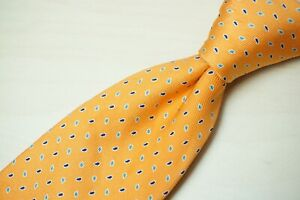 Turnbull & Asser Light Tangerine Blue Small solid Paisley 100% Silk Tie England