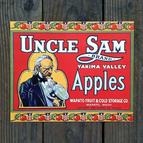 Vintage Original UNCLE SAM APPLE CRATE BOX Citrus Labels NOS Red Unused