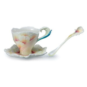 FRANZ-PORCELAIN-034-BLOSSOM-PEONY-CUP-SAUCER-amp-SPOON-SET-FZ2078-MINT-IN-BOX