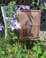 Beautiful 18x12 welcome Birdhouse & Clay Flower Pots Garden Flag