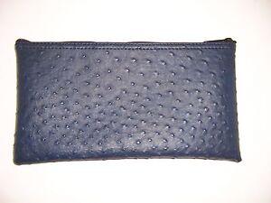 1 Brand New Premium Ostrich Pattern Navy Blue Leather Like Bank Deposit MoneyBag