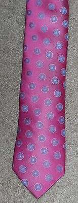 TED BAKER London Tie Hot Pink Blue Woven Silk Necktie New