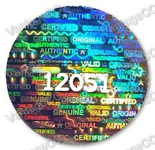 144x LARGE Security Hologram NUMBERED Stickers, 24mm Round, Warranty Labels